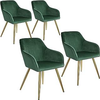 tectake 800862 Set de cuatro sillas aterciopeladas, Juego de cuatro sillas de Comedor tapizadas en Terciopelo, Conjunto de sillas Elegantes para la Cocina, Sillones para despacho (verde oscuro-dorado)