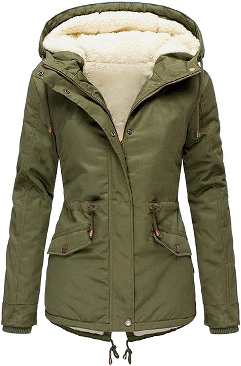 UOFOCO Winter Jackets for Women Hooded Thickened Fleece Line Coats Parkas Faux Fur Jacket with Pockets