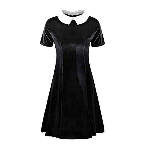 92a083621dc60 Annigo Womens Velvet Casual Short/Long Sleeve Peter Pan Collar Flare Skater  Short Dress