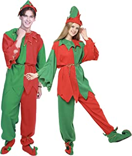 EraSpooky Adults' Christmas Costumes Santa Elf Costume Women Elf Outfit Men Dress Up - Funny Cosplay Party