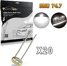 Partsam 20Pcs 4.7mm-12v Car White Mini Bulbs Lamps Indicator Cluster Speedometer Backlight Lighting