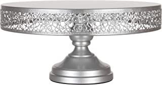 Amalfi Decor 14 Inch Cake Stand, Dessert Cupcake Pastry Candy Display Plate for Wedding Event Birthday Party, Large Round Metal Pedestal Holder, Silver