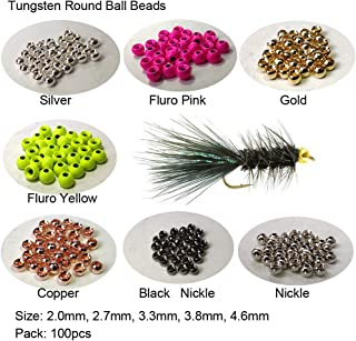 Aventik Think Fast Think Deep 100pc Tungsten Beads Round Ball Beads Fly Tying Materials 7 Colors / 5 Sizes Fly Fishing, Nymph Streamer
