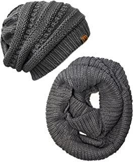 Winter Warm Knitted Infinity Scarf and Beanie Hat