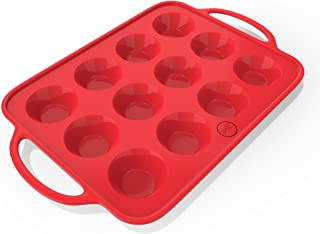 Sturdy Handle & Non Stick Silicone Muffin & Cupcake Baking Pan - Easy To Carry Patented Silicone Molds - Bake Boss 12 Cups...