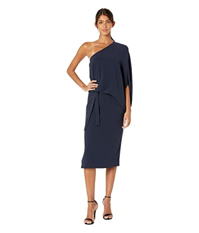 Halston Heritage Draped Asymmetric Sleeve Midi Crepe Dress (Dark Navy) Women