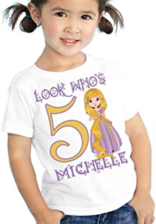Birthday Rapunzel T Shirt Personalized Girls Kids Toddler Youth Tee Custom Look Whos Name Age Cute Gift Ideas