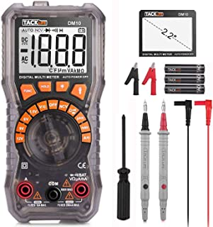 """Digital Multimeter Electrical Tester 2000 Counts TRMS Auto-Ranging Amp Volt Ohm Meter Diode and Continuity Tester AC/DC Voltage/Current Detector with 2.2"""" LCD Display,Backlight and NCV Function-DM10"""