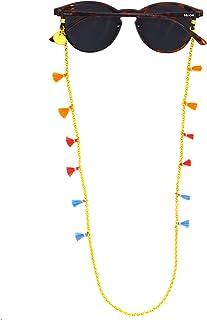 HOOK - Cordón Cuelga Gafas Para Mujer - Cordón Para Gafas de Sol o De Ver - Cadena Dorada y Mini Pompones - 60 cm de largo 0.3 cm de ancho - Gomas Universales - Mini Pompones 3090