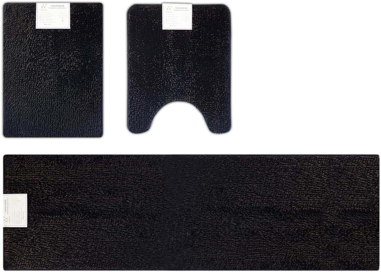Verxii Home Deluxe Bath Mat Memory Foam   Luxury No-Slip Soft Shaggy Bath Floor Mat Set Multiple Choices (3-PCS Combo B, Bright Black)
