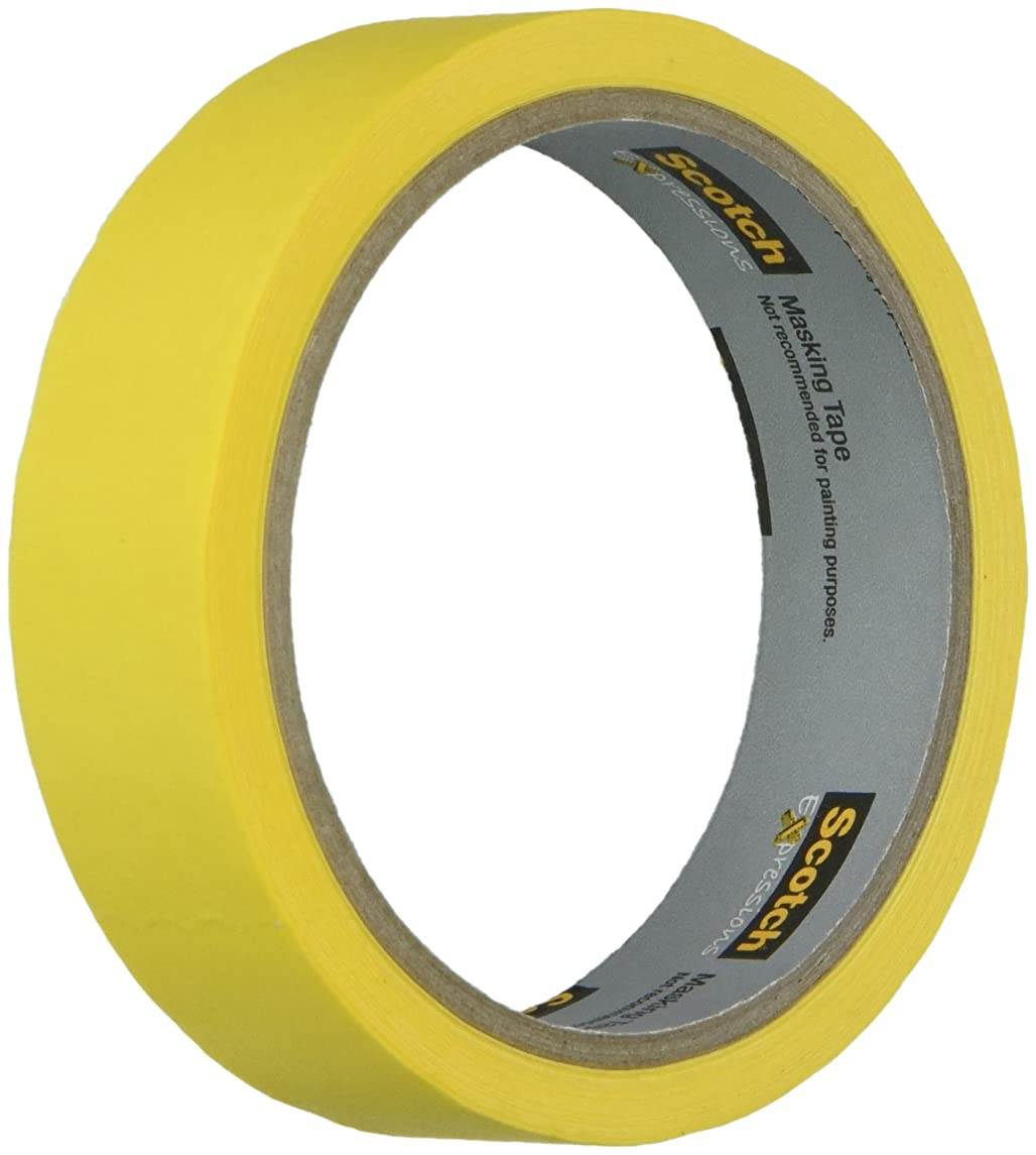 Scotch 3M-3437-PYL Masking Tape .94 X 20yd Yellw 0.94 in x 20 yds Yellow