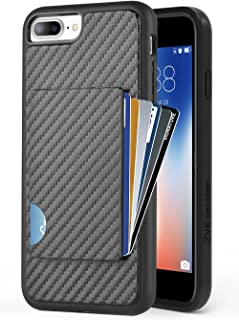 ZVEdeng iPhone 7 Plus Wallet Case, iPhone 8 Plus Card Holder Case, Shockproof iPhone 7 Plus Credit Card Cover with Carbon Fiber Slim Wallet Card Case for Apple iPhone 7 Plus / 8 Plus 5.5'' Black