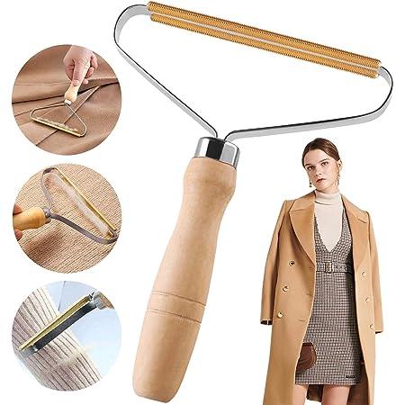 holzfarbe MXECO Tragbare Fusselentferner Kleidung Fusselrasierer Kleidung Flusen Haarschaber Kaschmir Reines Kupfer Doppelmesserkopf Handb/ürste