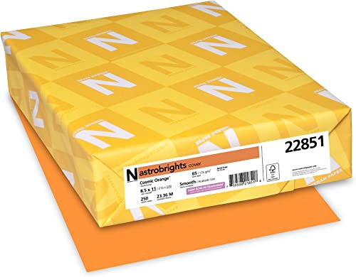 popular Neenah online sale Astrobrights Premium Color Card Stock, new arrival 65 lb, 8.5 x 11 Inches, 250 Sheets, Cosmic Orange outlet online sale