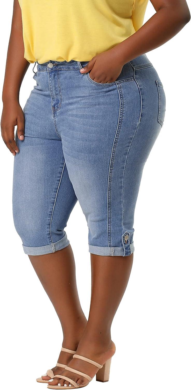 Agnes Orinda Plus Size Jeans for Women Capri Jean Casual Chambray Ripped Denim Jeans