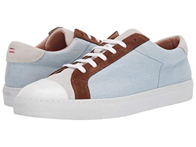eleventy Leather Tennis Sneaker (Denim/Brown) Men