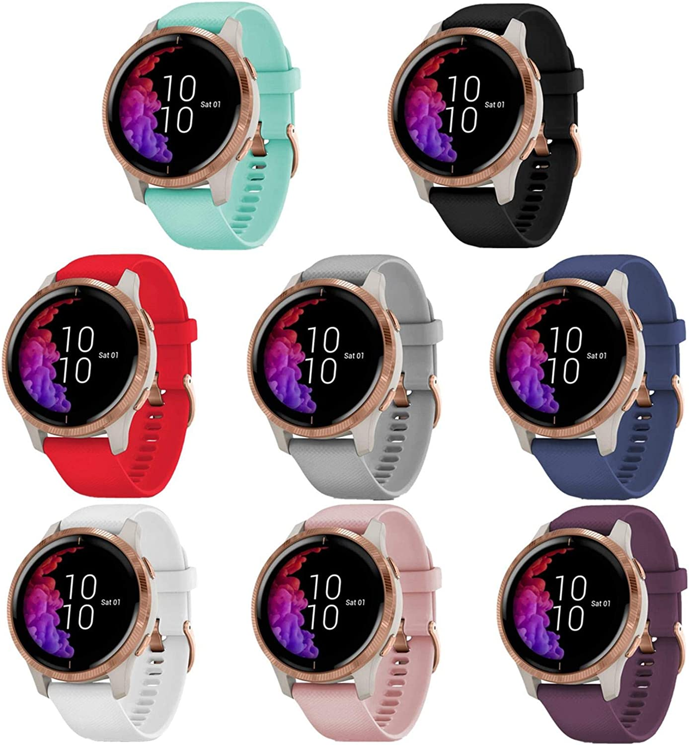 TECKMICO Sales 8PCS Bands Compatible with Opening large release sale Venu 20mm Garmin Re Silicone
