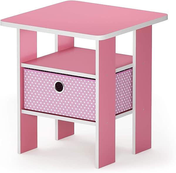 Furinno 11157PI LPI Andrey Bin Drawer Nightstand End Table 1 Pack Light Pink