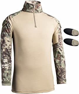 Men's Tactical Military Shirt Long Sleeve Camouflage Multicam Slim Fit Shirts Outdoor Army Combat Tee Shirt with Elbow Pads