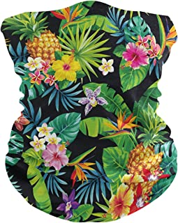 AUUXVA XLING Reusable Bandana Tropical Floral Flower Pineapple Palm Face Sunscreen Mask Magic Scarf Neck Gaiters Headband ...