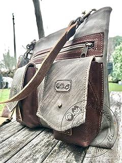 Tracolla in pelle e cuoio shoulder bag di O.M. Collection by Andrea Masotti fatta a mano