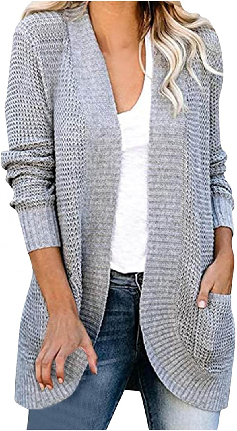 PASHY Womens Open Front Cardigan with Pockets Buttons Long Sleeve Outwear Sweater Winter Casual Long Cardigans for Women