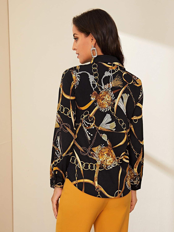 SweatyRocks Women's Chiffon Sexy Leopard V Neck Long Sleeve Blouse Shirt Tops