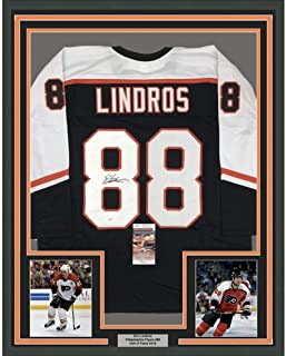 Framed Autographed/Signed Eric Lindros 33x42 Philadelphia Black Hockey Jersey JSA COA
