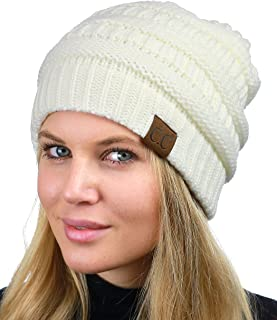 c8e6b8cd C.C Unisex Chunky Soft Stretch Cable Knit Warm Fuzzy Lined Skully Beanie