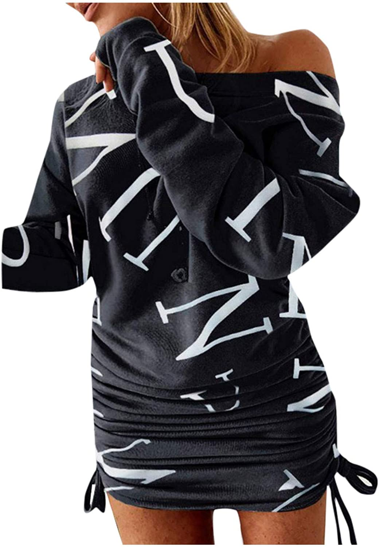 KOPLTYRFG Women's Sexy Pullover Off Shoulder Print Drawstring Ruched Long Sleeve Slim Dress