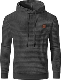 YuKaiChen Men's Pullover Hooded Sweatshirts Plaid Jacquard Long Sleeve Drawstring Hipster Casual Hoodies
