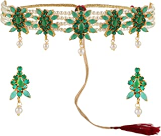 Indian Bollywood 14 K Gold Plated Cubic Zirconia Faux Ruby Emerald Pearl Choker Necklace Earring Bridal Jewelry Set