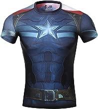 Red Plume Men's Compression Sports Fitness Shirt Superhero T-Shirt Running Short Sleeve