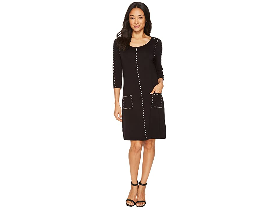 Tribal French Terry Dress with Pockets and Stud Detail (Black) Women