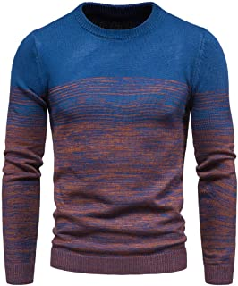 OTW Men Round Neck Jumper Knitwear Slim Casual Two-tone Pullover Sweater