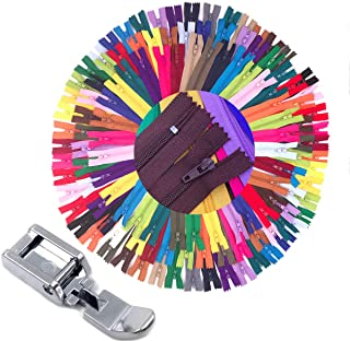 75pcs 20 Inch 14 Inch and 9 Inch Mixed Size Nylon Coil Zipper Bulk with Zipper Presser Foot for Sewing Craft(25 Color Zipp...