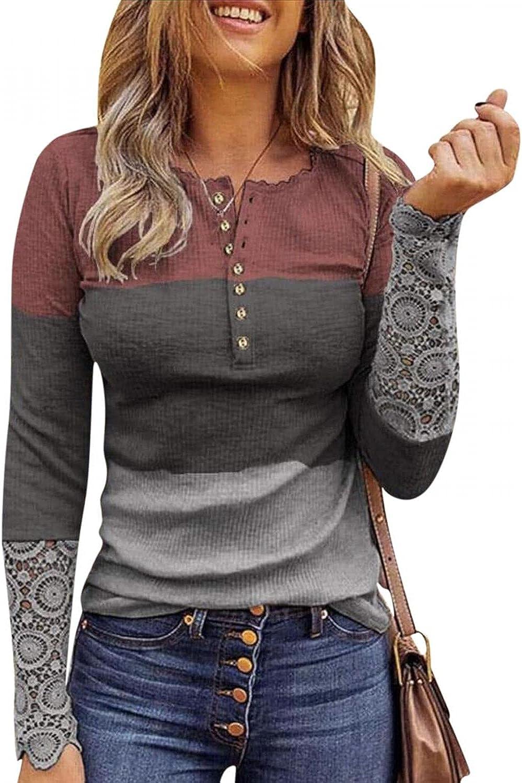 Sweatshirts for Women,Women Sweatshirt Pullover Lace Long Sleeve Button Trendy Casual Slim Shirts Blouse Tops