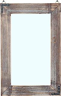 MBQQ 素朴なフラットウッドフレーム 壁掛けミラー 装飾バスルームミラー 壁化粧鏡 メイクアップミラー 16インチx 24インチ