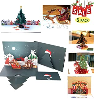 6 Pack Christmas Cards 3D Pop Up Colourful Greeting Holiday Cards Gifts for Xmas/New Year Christmas Card with Envelope