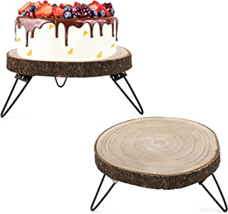 """DEAYOU 2 Pack 10"""" Wood Cake Stand, Wooden Cupcake Pedestal, Paulownia Wood Slice Stand with Hairpin Metal Leg, Rustic Wedd..."""