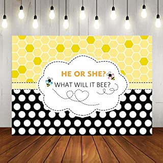 Fanghui 7x5FT Bee Theme Gender Reveal Party Photography Backdrop Bumble Bee He or She What Will it Bee Background Honeycomb Dots Bee-Day Party Banner Supplies Photobooth Props