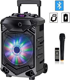 Shinco 12-inch Woofer Karaoke Machine Bluetooth Speaker, Portable PA System with Wireless Microphone, Flashing Party Light