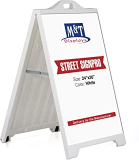 Street SignPro Board, A-Frame Sidewalk Curb Sign, Folding Portable Double Sided Display Sandwich Board, 24x36 Poster Display - White