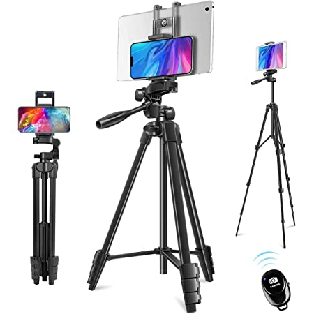 Phone Tripod, 60'' Camera Tripod 2 in 1 Lightweight Travel Tripod Stand for iPhone ipad Universal Smartphone Tablet Camera GoPro with Carrying Bag & Bluetooth Remote