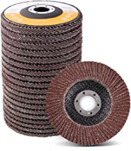 4.5 Inch Flap Discs by LotFancy - 20PCS 40 60 80 120 Grit Assorted Sanding Grinding Wheels, Aluminum Oxide Abrasives, Type #27