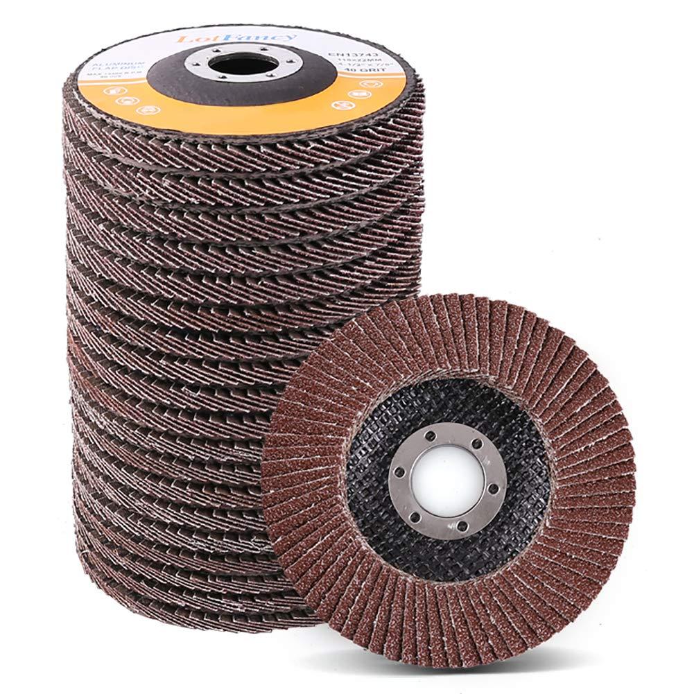 4.5 Inch Flap Discs By Lotfancy - 20Pcs 40 60 80 120 Grit Assorted Sanding Grinding Wheels, Aluminum Oxide Abrasives, Type #27