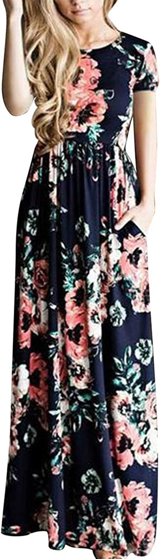 Allfennler Women's Floral Print Round Neck Short and 3 4 Sleeve Summer Maxi Dress