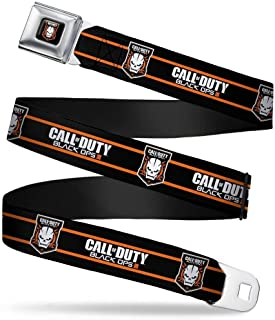 "Buckle-Down Seatbelt Belt - CALL OF DUTY-BLACK OPS III/Skull Icon 2-Stripe Black/Orange/White - 1.5"" Wide - 32-52 Inches in Length"