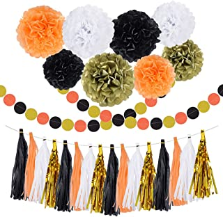 30PCS Halloween Party Supplies Decorations Tissue Paper Pom Pom Black Orange White Gold Tassel Garland Banner for Halloween Party