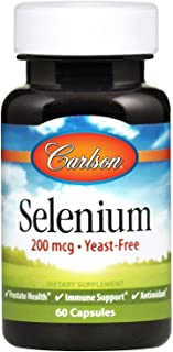 Carlson - Selenium, 200 mcg Yeast-Free, Prostate Health & Immune Support, Antioxidant, 60 Capsules
